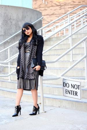 silver metallic JustFab dress - black patent leather Zara boots