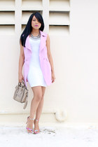 ivory asos dress - light pink JustFab vest - bubble gum Steve Madden sandals
