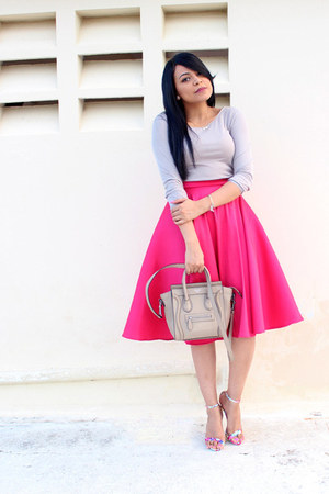 hot pink midi custom made skirt - heather gray Zara top