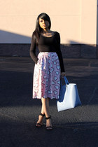 light pink hearts asos skirt - periwinkle tote JustFab bag