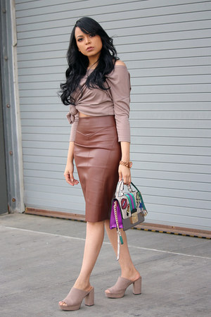 brown faux leather Express skirt - heather gray mules Target heels