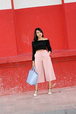 light blue tote JustFab bag - light pink culottes Zara pants - black H&M top