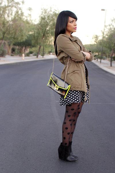 black polka dot Forever 21 dress - army green cargo JustFab jacket