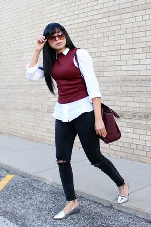 crimson turtleneck Zara top - white H&M shirt - silver loafers JustFab flats