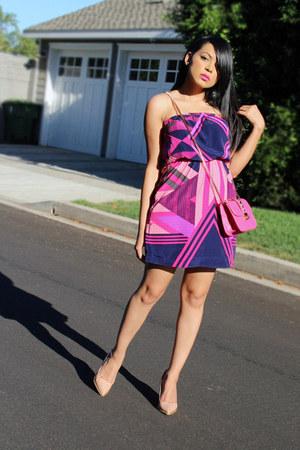 bubble gum tube Express dress - nude high heels Zara pumps