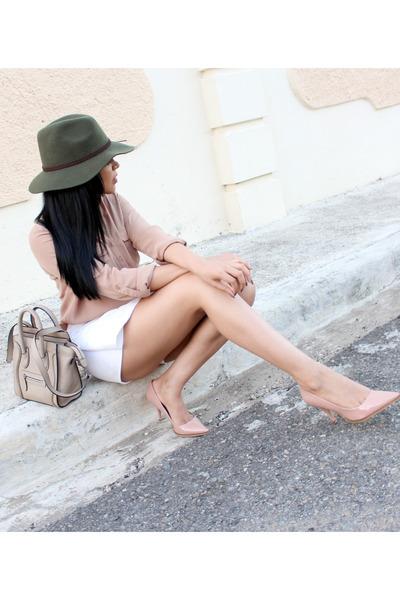 olive green Charlotte Russe hat - white Zara skirt - nude Forever 21 top
