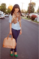 navy JustFab jeans - brown leopard Charlotte Russe scarf