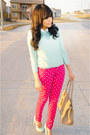 Hot-pink-polka-dot-justfab-jeans-light-blue-mint-forever-21-sweater