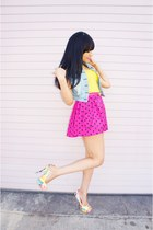 hot pink polka dot Forever 21 shorts - light blue denim Wet Seal vest