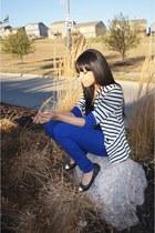 white stripes Charlotte Russe blazer - black cap toe Forever 21 flats