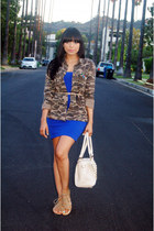 olive green camo Love Culture jacket - blue body con Forever 21 dress