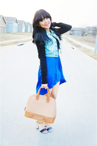 blue hight low Forever 21 skirt - black Forever 21 sweater