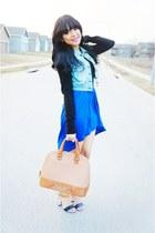 blue hight low Forever 21 skirt - black Forever 21 sweater