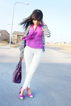 ivory Forever 21 jeans - magenta bow Forever 21 blouse