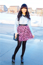 pink leopard Forever 21 skirt - light blue denim Love Culture top