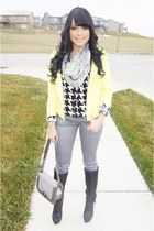 yellow neon Charlotte Russe jacket - silver metallic JustFab jeans