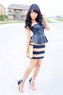 Black-peplum-forever-21-top-black-stripes-thrift-store-skirt