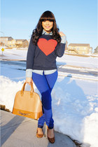 blue Forever 21 jeans - navy heart Forever 21 sweater