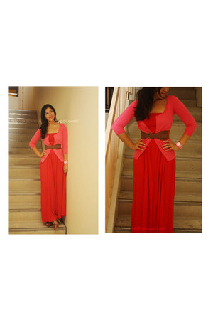 red Forever 21 dress - tawny Charles & Keith heels - hot pink Zara cardigan