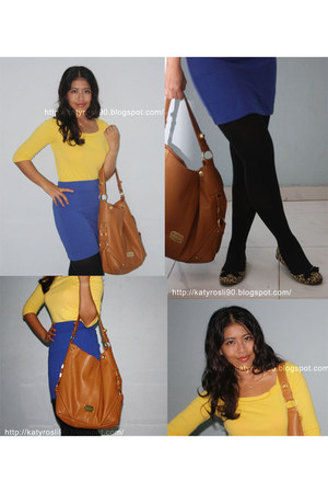 yellow cotton on shoes - black leggings - tawny Charles & Keith bag - blue cotto