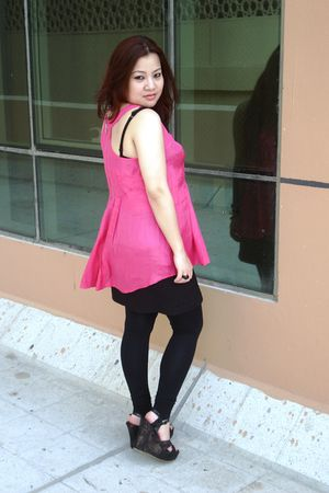 pink new look top - black H&M skirt - black new look leggings - black Steve Madd