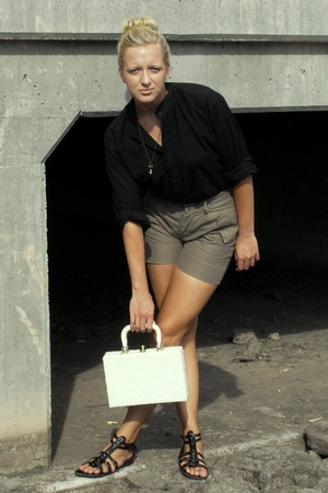 black blouse - beige trinity shorts - black Target - white purse - gold necklace