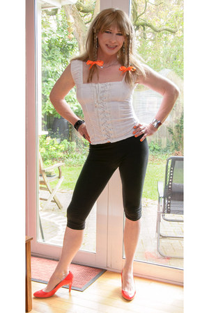 black cotton George leggings - Jane Norman top - orange courts Tesco F&F heels