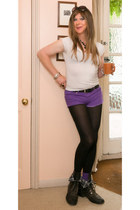 deep purple Primark shorts - black new look boots - black Uniqlo leggings
