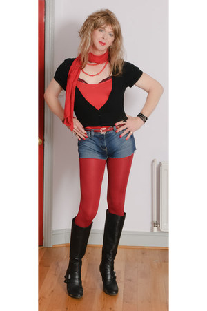 black leather new look boots - red opaques tesco tights