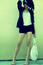black Forever 21 blazer - brown Forever 21 sunglasses - thrifted shoes - white t