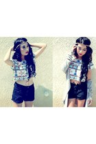 thrifted shorts - novajo crop top Forever 21 top