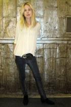 dark gray jeans - ivory blouse - black belt
