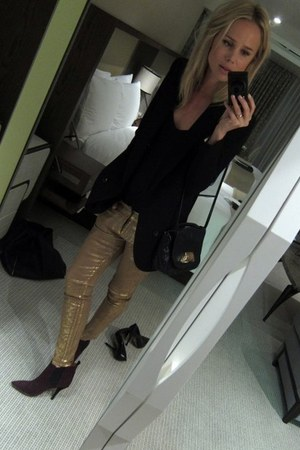 gold Guess jeans - magenta leopard Isabel Marant boots - black Blank blazer