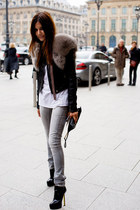 black heels - heather gray jeans - black leather jacket