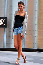 denim shorts - black strapless top - heather gray cardigan