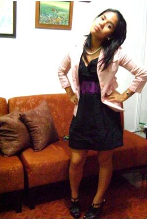 blazer - Plains and Prints dress - belt - Zara shoes