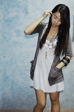 blue mint dress - silver coat - gold necklace - black Mango bracelet