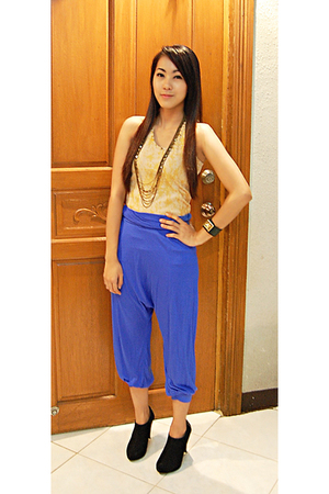 blue Topshop pants - gold People are People top - gold Aldo necklace - black boo