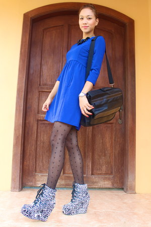 blue Zara dress - black Topshop stockings