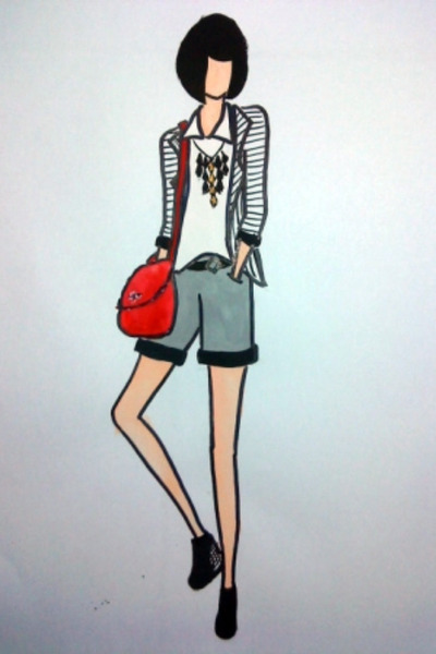 white shirt - white blazer - silver shorts - black shoes - red bag - black neckl