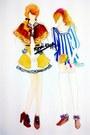 Bronze-coat-white-dress-crimson-boots-white-dress-white-socks-crimson-
