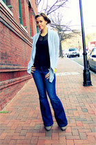 blue Old Navy jeans - heather gray Gap sweater - black Express top