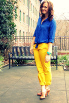 blue Old Navy blouse - yellow Jcrew pants