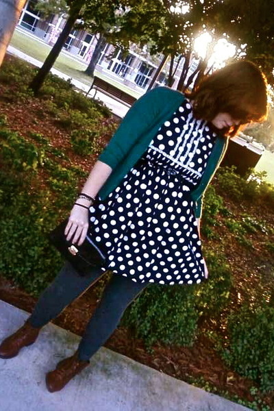green Target cardigan - black thrifted dress - brown thrifted vintage boots - bl