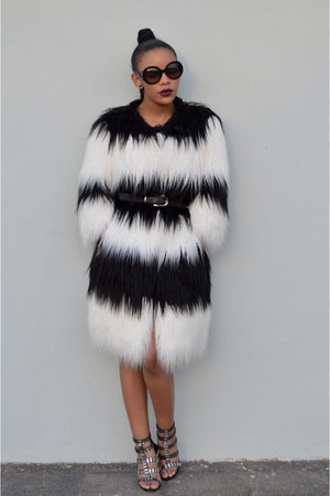 white faux fur Diesel coat - black beaded Ryan Keys dress