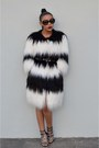 Black-beaded-ryan-keys-dress-white-faux-fur-diesel-coat