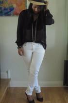H&M jeans - H&M hat - H&M heels - black sheer thrifted vintage blouse - Forever