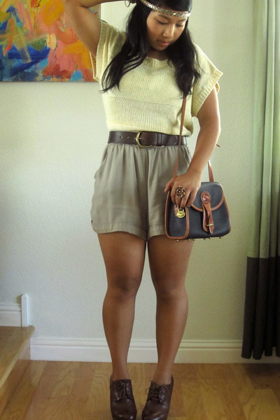 Forever 21 sweater - Dooney & Bourke bag - Forever 21 romper - thrifted vintage
