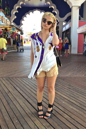 vintage shirt - black vintage bag - Forever 21 shorts