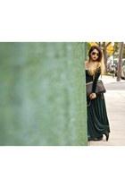 black gold studded Rebecca Minkoff bag - forest green vintage dress
